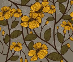 retro yellow flowers custom fabric by well_red for sale on Spoonflower