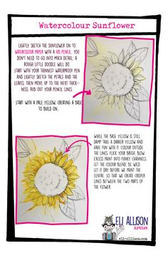 A great art tutorial this week, the humble sunflower. The workhorse of the artworld. It's easier than you think, pop along to my website where I show you how to create all sorts of wonderful art projects. Watercolor Sunflower, Watercolor Paper, Fairy Tree Houses, Little Doodles, Easy Art Projects, Draw Your, Journalling, Simple Art