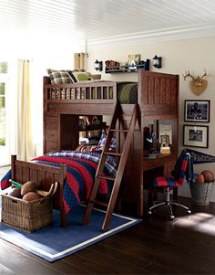 Boys Bedroom Idea 1 | Pottery Barn Kids.  I love these bunk beds so much more than the ones we have...