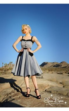 Pinup Couture Betsey Swing Dress in Black Gingham | Pinup Girl Clothing