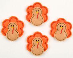 Machine Embroidered Felt  Four 4 TURKEY by sewcutefelt on Etsy, $3.80