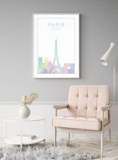 Paris Wall Art Print Paris Print Pastel Print Paris   Etsy Modern Prints, Large Prints, Paris Poster, Paris Wall Art, Family Print, New York Art, Kitchen Wall Art, Minimalist Poster, Wall Art Prints