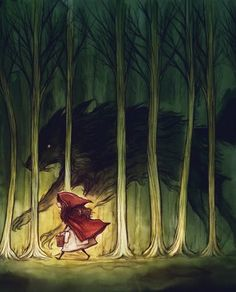 I love how dark the Wolf is in this picture, like he's following her in the shadows. This is just like the opening scene of Book One.