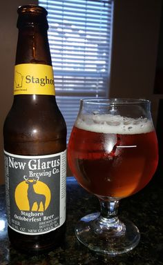 New Glarus Staghorn (Marzen) / Oktoberfest is 6.25 ABV and pours translucent golden orange. The nose is bready and fruity apple which leads into the taste, bready malts, green apple, finishing with a quick bitter bite. The overall mouthfeel is light and crisp but sacrifices nothing for character. It's a solid to very good example of the style and while I was glad to be able to try it I won't be pining for it again. That said, downing a sixer + of these during an Oktoberfest would be spot on.