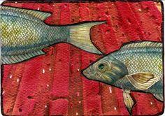 Swim Original Art Mixed Media Collage Fish ACEO vintage Venecia #OutsiderArt