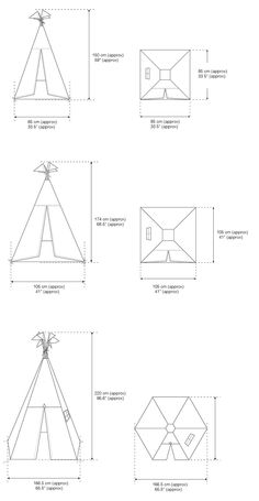 Moozle Teepee Tents for kids | Sizing