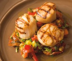 Grilled Scallops With Corn, Bacon & Red Pepper Ragout Recipe | from Rob Feenie's Casual Classics cookbook | House & Home