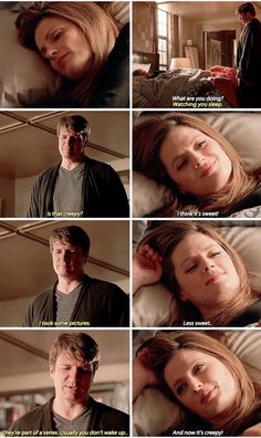 """I'm watching you sleep. Is that creepy?"" - Rick and Kate #Castle"
