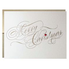Letterpress Christmas Card with Rhinestone and Metallic Gold Envelope - 5 pack