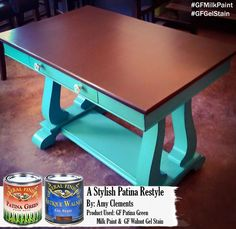 Love this fun bright table makeover from Amy Clements.  She chose General Finishes Patina Green Milk Paint and Java Gel Stain to achieve this look.