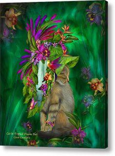 Carol Cavalaris Cats | Cat In Tropical Dreams Hat Acrylic Print By Carol Cavalaris
