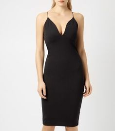 Cameo Rose Black Deep V Strappy Bodycon Midi Dress