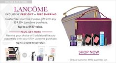 Lord & Taylor offer this Lancome giftset - free when you spend $39.50 on Lancome online or instores.