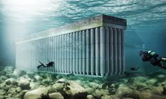 Waterstudio has designed a floating breakwater or sea wall that doubles as a giant energy generator.