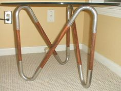 modern end table DIY - out of wooden dowels metal pipe thingies