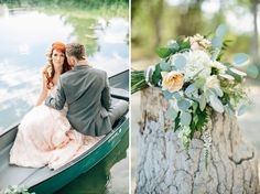 Dreamy lakeside wedding inspiration styled by Alyssia B Photography + Callie Hobbs Photography. Dress by Maggie Sottero, florals by Flowers by Adrien. See more on Green Wedding Shoes! Boat Wedding, Lakeside Wedding, Wedding Shoot, Wedding Dresses, Maggie Sottero, Wedding Photo Inspiration, Green Wedding Shoes, Hobbs, Canoe