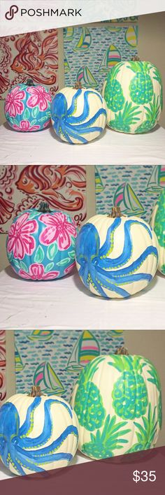 Coastal Pumpkin Decor - SAMPLE SALE 🌴🌴🌴 SALE! Coastal Pumpkins. 🌴 Octo. Tropical Flower. Pineapple. Original Artwork Acrylic on a white craft pumpkin. Weather treated for indoor / outdoor. listed Lilly for exposure. By Go Coastal Studio - Palm Beach. Lilly Pulitzer Other