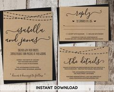 Wedding Invitation Template - Rustic Printable Set | String Lights, Calligraphy | Kraft Paper | Editable Instant Download Digital File Suite by InstantInvitation on Etsy https://www.etsy.com/listing/462015932/wedding-invitation-template-rustic