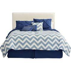 House of Hampton Germain Reversible Comforter Set Size: Twin Comforter + 5 Additional Pieces, Color: Navy Luxury Comforter Sets, Bed Comforter Sets, Comforters, Console, Lorie, Ruffle Bedding, Cotton Duvet, Quilt Sets, Duvet Cover Sets