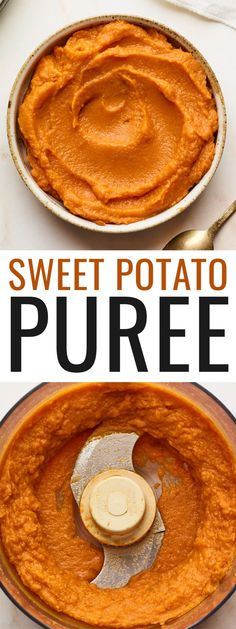 Sweet potato puree is so easy to make. Just bake your sweet potatoes, peel and blend until smooth! It's a great first food for babies, but can also be used in baking recipes, mixed into oatmeal, added to smoothies or served as a side dish. Healthy Thanksgiving Recipes, Good Healthy Recipes, Paleo Recipes, Baking Recipes, Baby First Foods, Potato Puree, Just Bake, Meals For One, Sweet Potato