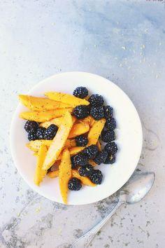 mango blackberry lemon poppy seed salad with earl grey coconut cream
