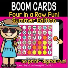 Boom Cards - Speechbop Increase Vocabulary, 4 In A Row, Two Player Games, Receptive Language, New Words, Student Learning, Speech Therapy, Teaching, Activities
