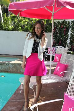 Sydne Style - polka dots and a pop of neon