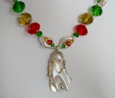 CLEARANCE Necklace Holiday Red Green Gold LindyLeeTreasures.etsy.com by LindyLeeTreasures