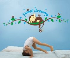 Sweet Dreams Monkeys and Tree Branch Birds Giant Baby Wall Sticker Decals ,Super For Boys and Girls Nursery Room Home Decor Decal Children's Room: Amazon.co.uk: Kitchen & Home