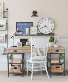 Farmhouse Office Desk Ideas 24 Small Home Office Furniture, Small Home Offices, Furniture For Small Spaces, Furniture Decor, Affordable Office Furniture, Home Office Design, Home Office Decor, Office Ideas, Desk Ideas