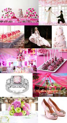Pink wedding mood board.  Love the cake balls