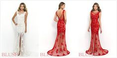 White Lace Prom dress gown evening dress#q.11