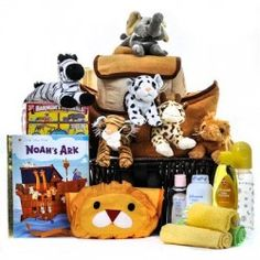 Deluxe Noah's Ark Cuddly Friends Baby Basket (Free Shipping USA Only)