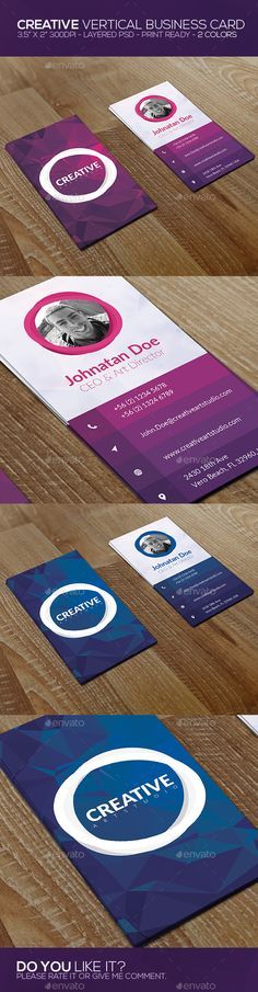 Creative Vertical Business Card is modern & clear design for your studio or personal branding in 2 colors. It is fully editable PS Business Card Maker, Business Card Psd, Unique Business Cards, Business Card Design Inspiration, Business Design, Layout Inspiration, Design Logo, Web Design, Design Cars