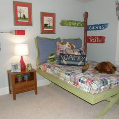 Camping mural and cool bed!