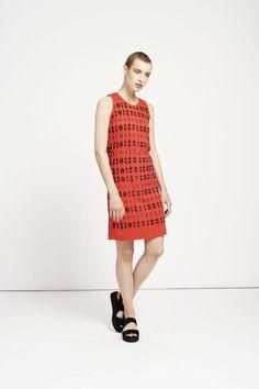 jersey shift dress / sleeveless dress / red ladies dress by RIYKA