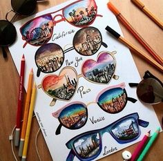 easy drawings for beginner, famous cities skylines, through glasses, colourful drawings, white background Amazing Drawings, Cool Art Drawings, Beautiful Drawings, Drawing Ideas, Summer Drawings, Cool Drawing Designs, Amazing Art, Cute Disney Drawings, Doodle Art Drawing