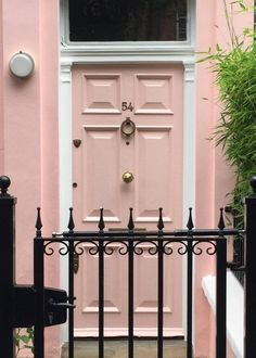 pink front door that looks like Sherwin-Williams Pink Shadow SW0070