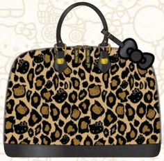 omgggg. Hello Kitty leopard print handbag<3