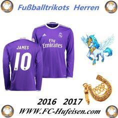 Neue Fussball Trikots Real Madrid Lila Lange Ärmel (JAMES 10) Auswärts Saison 2016 2017 Billig