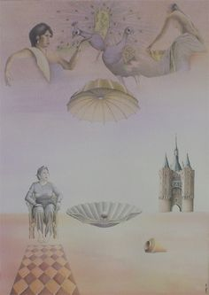 """Titel: """"De parel van het verre en nabije oosten"""". 2001. Gemengde techniek op 500gr papier"""