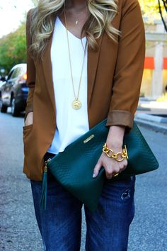 GiGi New York | Style Cusp Fashion Blog | Emerald Uber Clutch | Get yours at Arco Avenue!