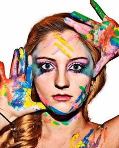 #summer #hispanic #makeup #hair #blonde #fashion #model #photography #modeling #cuban #photoshoot #paint #acrylic #rainbow