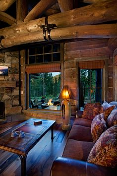 Modern take on a log cabin, custom-built by NSM Construction in Truckee, CA.