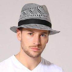 bb6163ea42c96 Black and white geometric panama hat for men summer straw sun hats