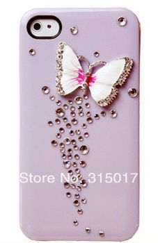 Girl's  iPhone 5 5G 5S Luxurious High Quality Bling Case Rhinestone Crystals Case Fashion Butterfly Cover