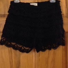 Never wore- black layered lace shorts Side zipper Shorts