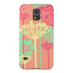 Modern neon / pastel dandelion wish flowers silhouette pattern girly, trendy, stylish chic Case Mate Samsung Galaxy S5 case cover.