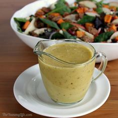 APPLE CIDER VINAIGRETTE is tangy with a hint of sweetness. Toss it with mixed greens or drizzle on roasted vegetables for a flavorful autumn side for Thanksgiving and holiday meals. From TheYummyLife.com