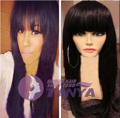"""Hot 130% Density Indian Remy Human Hair 14""""-22"""" silk straight full Wig With bang #Tanya #FullWig"""